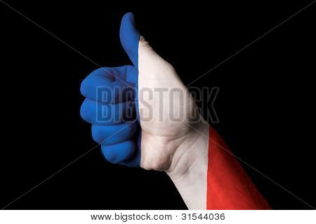France National Flag Thumb Up Gesture For Excellence And Achievement Made With Hand