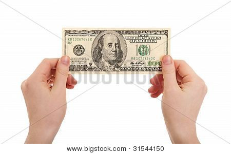 Human Hands  Holding Money Dollars, 100 Us Dollar Banknote Isolated