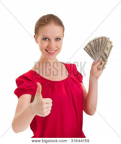 Beautiful Successful Young Woman In A Red Blouse Shows A  Thumb  Up And Holding The Money, American