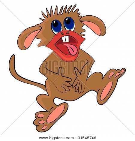monkey laughing illustration. cute wild animal