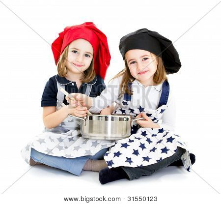 chef and cook with pot