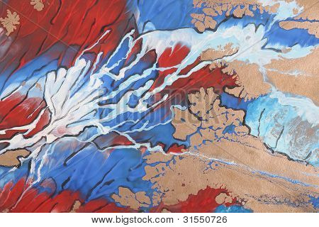 Blue, Red And White Abstract Brush Painting