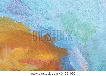 Blue And Orange Abstract Brush Painting