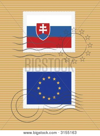 Slovakia And Eu - Stamps With Flag