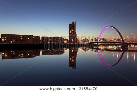Glasgow cityscape night reflection