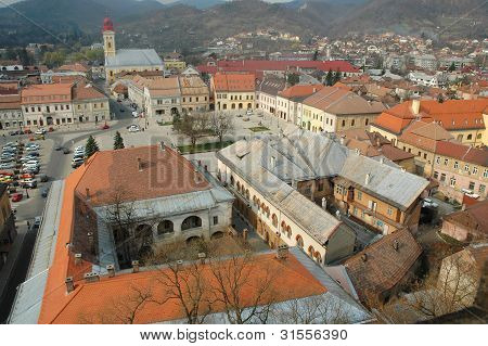 Aerial view of Baia Mare city, Romania