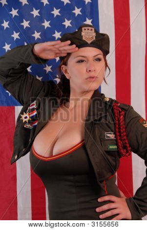 Busty woman in Army uniform saluting