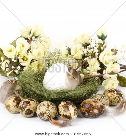 eggs, Jack and flowers on a white background