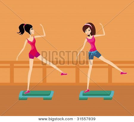 Two young women doing exercise on aerobic step