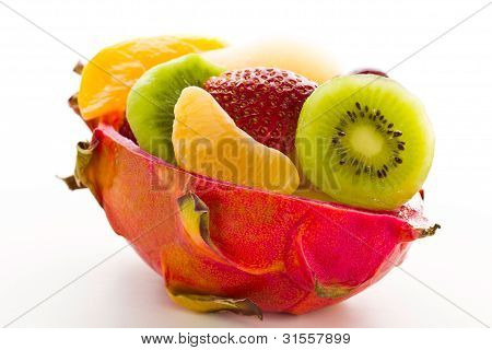 Fruit Salad In A Cuted Pitahaya