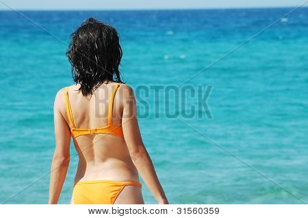 A sexy woman standing in front of the sea in orange bikini