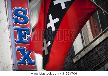 Sex sign with Amsterdam flag