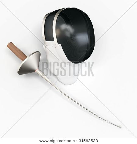 3D Detailed Fencer Mask And Sword