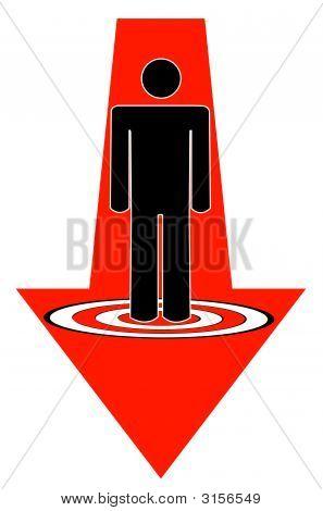 Stick Man Pointing Way Down To Target