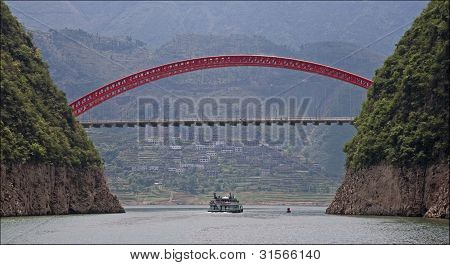 Wu Gorge Bridge on Yangtze River