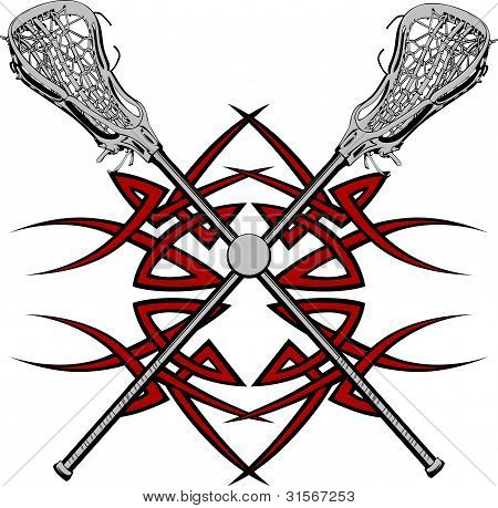 Lacrosse Sticks Graphic Vector Template