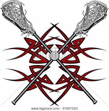 Lacrosse Sticks Graphic Vector Template
