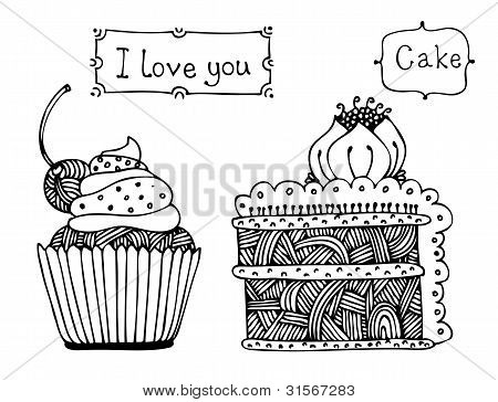 Vector Sweet Cake Set