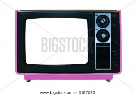 Pink Retro Tv Isolated With Clipping Paths