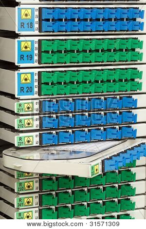 Fiber Optic Rack With High Density Of Blue And Green Sc Connectors