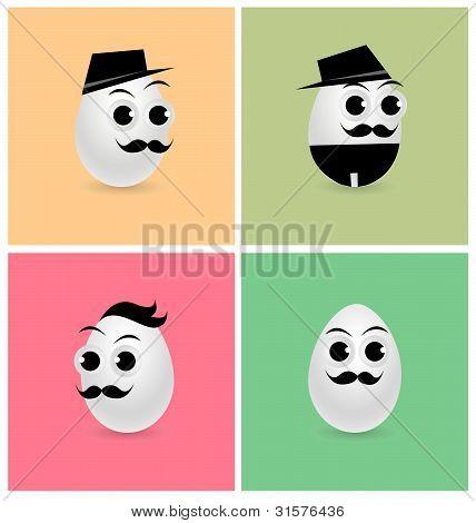 Set of Cartoon Eggs
