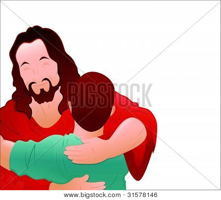 Illustration of Happy Jesus with Young Boy