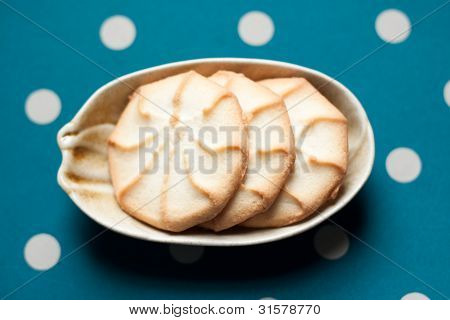 Plate Of Cookies On Green Polka Dot Background