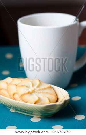 Plate Of Cookies And A Cup Of Coffee