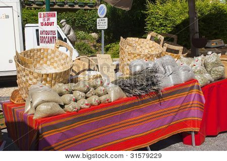 Lavendar market stall in Saint Saturnin Les Apt, Provence, South