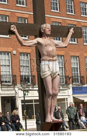 Actor who plays Gestas is crucified alongside Jesus during the Good Friday Walk