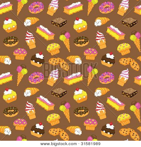 Sweets pixelated seamless pattern