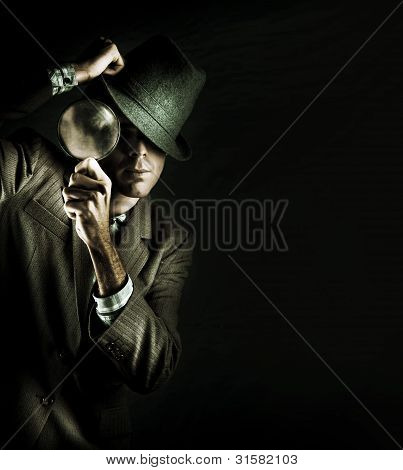 Security Detective With Magnifying Glass