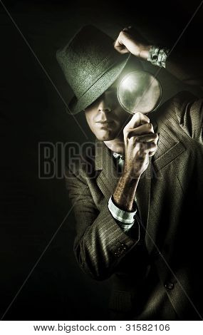 Vintage Undercover Spy On Dark Background