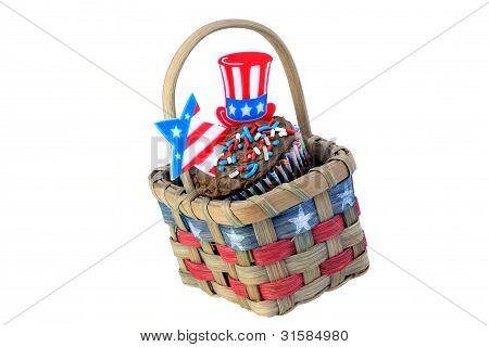 Patriotic Cupcake In Basket on White