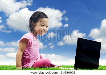 Happy Girl With Laptop