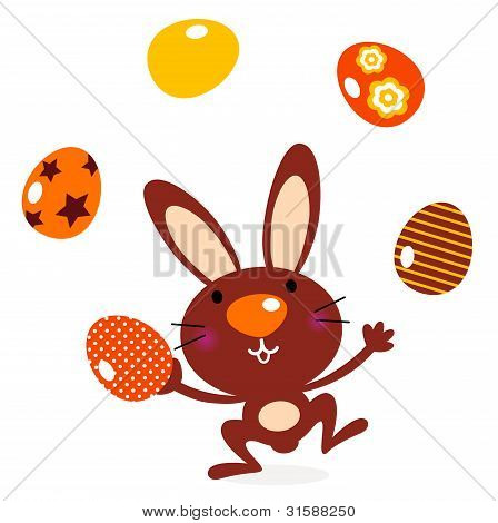 Cute Jumping Bunny Juggling With Eggs