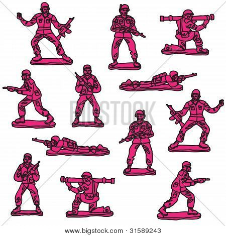 pink toy soldiers vector