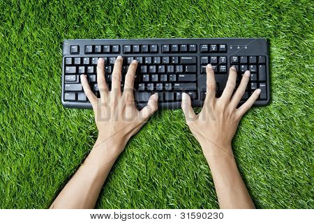 Typing Keyboard On Grass