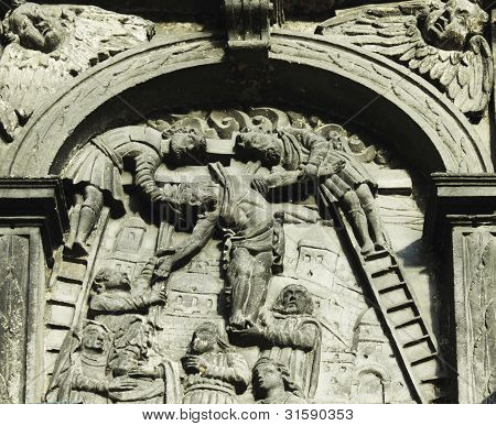 Holy Cross With Crucified Jesus Christ On Facade Of The Chapel Of Boim (lviv, Ukraine)