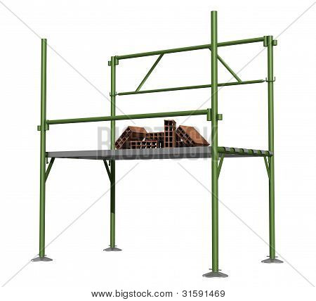 Green Scaffold  With Bricks