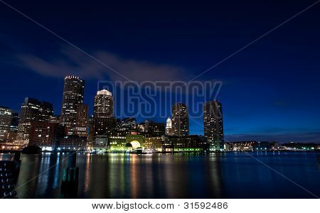 The city of Boston after sunset
