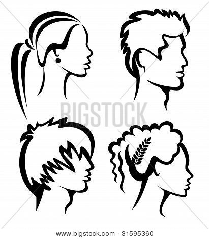 Set Of People Protraits With Haircuts