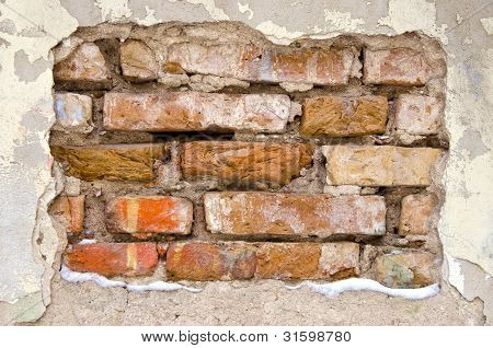 Background Of Dirty Old Crumbling Brick Wall