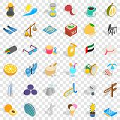 Tourism In Uae Icons Set. Isometric Style Of 36 Tourism In Uae Icons For Web For Any Design poster
