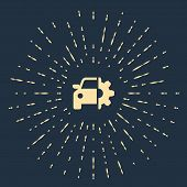Beige Car Service Icon Isolated On Dark Blue Background. Auto Mechanic Service. Mechanic Service. Re poster