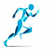 Modern Stylised Blue Running Male Athlete In Full Stride Sprinting For Speed During A Training Worko poster