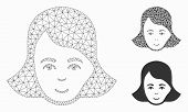 Mesh Lady Face Model With Triangle Mosaic Icon. Wire Carcass Triangular Mesh Of Lady Face. Vector Mo poster