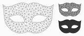 Mesh Privacy Mask Model With Triangle Mosaic Icon. Wire Carcass Polygonal Mesh Of Privacy Mask. Vect poster