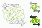 Mesh Money Exchange Model With Triangle Mosaic Icon. Wire Frame Polygonal Mesh Of Money Exchange. Ve poster