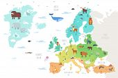 World Map With Funny Wild Animals Living On European Continent. Adorable Cartoon Herbivore And Carni poster